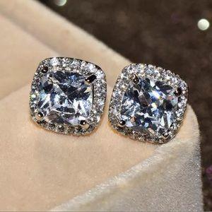 925 Silver Princess Cut CZ Diamond Earrings
